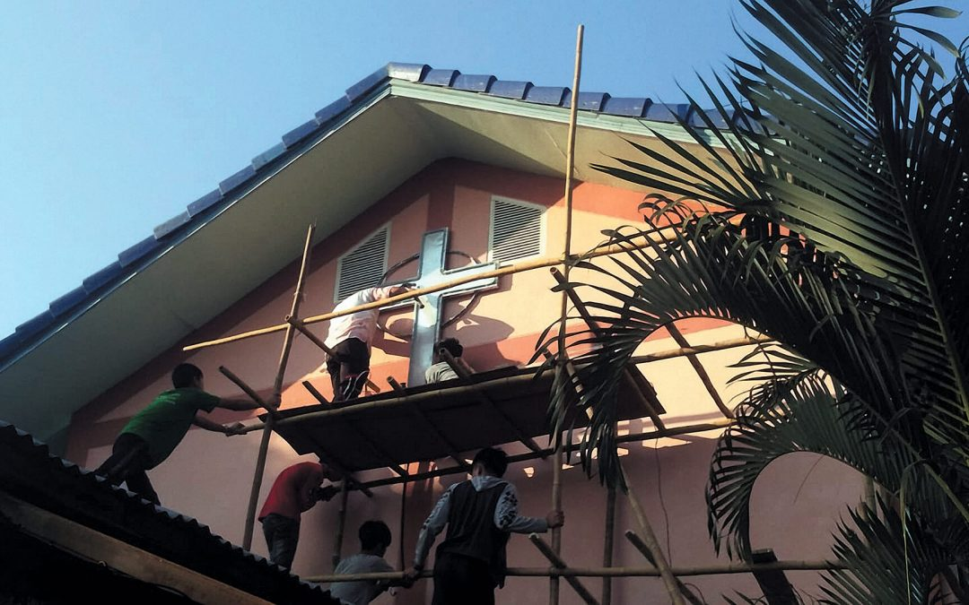 Installation of Cross on Church Building – Tachileik, Myanmar